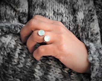 Aqua chalcedony ring Open ring, artisan jewelry gemstone jewelry modern ring, silversmith jewelry boho gift gift for her