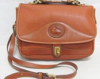 Dooney and Bourke Vintage Brown Pebbled Leather Top Handle Shoulder Bag