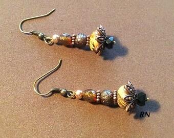 Drop Earrings, Picture Jasper Earrings, Boho Style Earrings