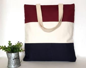 Three Tone Canvas Tote Bag, 3 Panel Canvas Tote Bag, Minimal Canvas Tote Bag, Canvas bag, School Tote Bag, Tote bag with zipper, Zipper tote