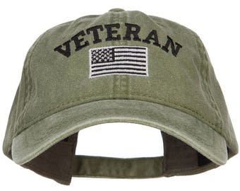 Veteran Flag Embroidered Washed Cap