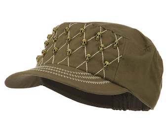 Military Cap with Skulls and Stitch