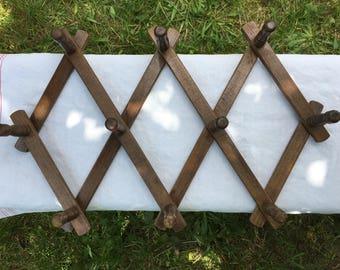 Vintage Rustic Bulgarian Wooden Folding Rack, Mug or Towel Rack, Farmhouse, Cottage Decor