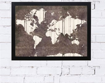 world map, map slate, map poster, Scandinavian poster, living room, office decor, world map poster