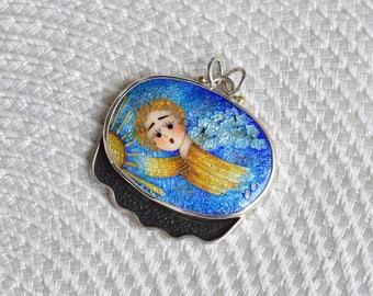 Cloisonne enamel Necklace ,Sterling silver, pendant - Angel