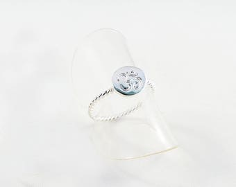 Pb07 - Ring holder pattern Chakra 3rd eye OHM AUM Yoga Meditation Zen Buddha silver shiny OMH