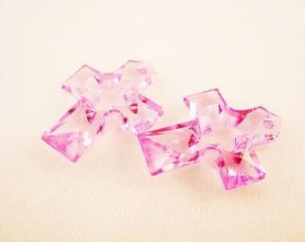 PAC58 - Set of 4 pink transparent acrylic cross charms pendants