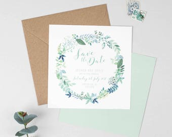 Botanical Wedding Save The Date -  Floral Wedding Save The Date - Wedding Stationery - Invitation Suite - Save the Date, RSVP