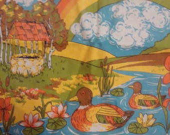Linen Dish Towel, Rainbow LGBT, Wall Hanging, 1985 Calendar, Vintage Kitchen, Lodge Lake Cabin Life, Duck Pond, Birthday Year, Linen Towel