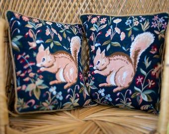 Vintage Woodland Pillows Set of 2   Squirrel Pillows