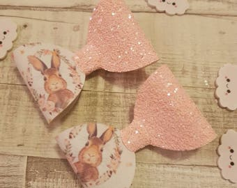 Girls Hairbows, Easter bunny hairbows, baby bands, hairclip set, hair accessories, glitter hairbows, easter gift set, peach hair bows. Clips