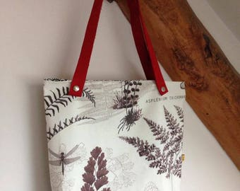"Bag / tote bag / tote bag ""ferns"" leather handles"