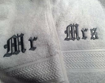 Personalised  Mr and Mrs bath towels
