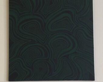 Original 24 x 24 Abstract Dark Purple Green Painting