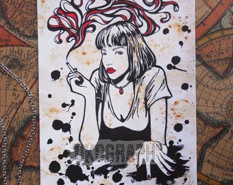 Card drawing / illustration / fanart Pulp Fiction Uma Thurman with style comic / manga / pop art / dripping