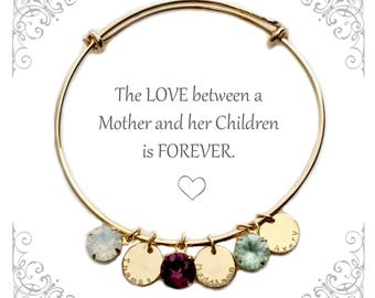 Birthstone Bracelet | Mother's Day Gift | Bracelet for Mom | Mom from Daughter | Birthday bracelet | Name bracelet | Family