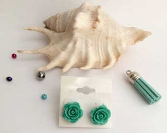 Mint rose earrings, rose earrings, stud earrings, handmade jewelry, mint earrings, handmade earrings, fair, party