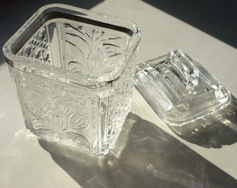 Vintage Glass Rectangular Vase With Lid