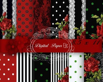 50% Off Red and Black Digital Papers, Red and Black Digital Background, Red and Black Printable Paper Pack, Instant Download  8.5 x 11 Paper