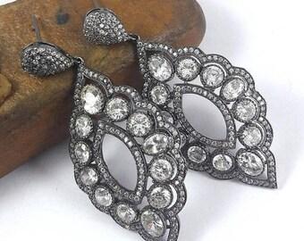 SUMMER SALE 925 Sterling Silver Cz Earrings, Swarovski Earrings, Bridal Dark Blue Earrings Cz Stones Earrings. Black Rhodium Plated Earrings
