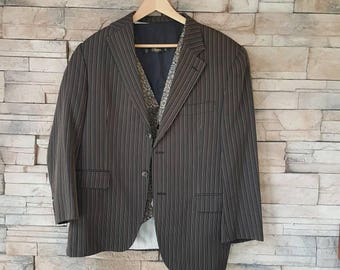Pin stripe jacket size 40 ,80s black jacket with beige,grey brown stripes,(B)