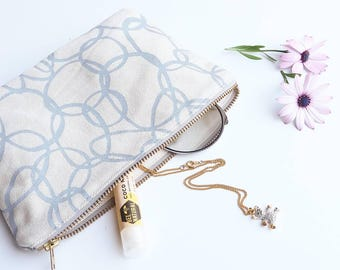 Handmade organic cotton cosmetics pouch / handbag organiser screen printed