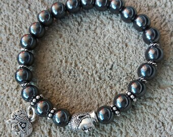 Zen Buddha and small metal elephant bead please energized please Hematite Bracelet, high quality tierracast