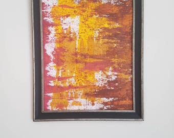 Original art | gift | housewarming | abstract art | unique painting | contemporary art brown | pink | yellow | 16x20cm ready to frame |