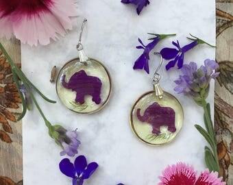 Flower petal elephant earrings