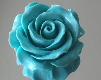 Blue Flower Pendant Bead - Beautiful Clay Cabochon Flower Pendant Bead - 28mm - Sold Individually