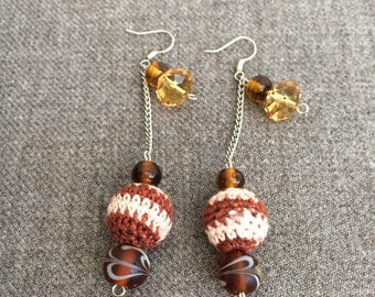 crochet balls, brown earrings, crochet earrings, dangle earrings, crochet jewelry, gifts for her, Art Deco