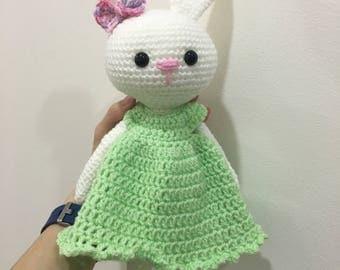 Crochet bunny amigurumi, with dress, baby shower, cute, plushie, stuffed animal