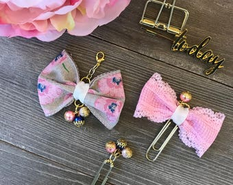 Sweet Pink Floral Bow Planner Clip TN Charm