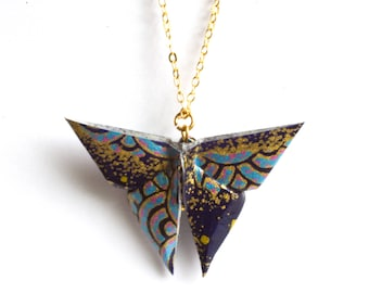 Origami Butterfly Necklace - Blue and Gold - 24K Gold Plated Chain