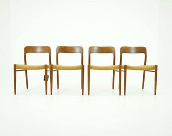 308-146 Danish Mid Century Modern 4 Teak Dining Side Chairs by Niels Moller 75