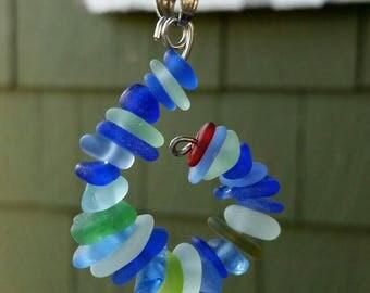 Lake Erie multi colored beach glass conch style pendant. Cobalt blues, seafoam and more!