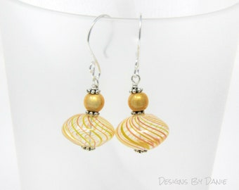 Yellow and Red Earrings, Hollow Glass Earrings, Yellow Cats Eye, Simple Earrings,