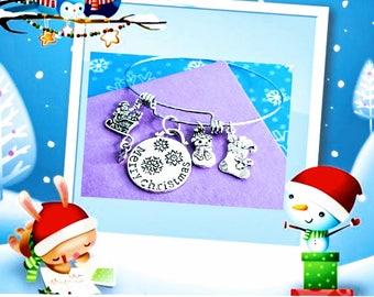 Christmas Bracelet, Christmas Charm, Bracelet, Holiday Bracelet, Holiday Jewelry, Merry Christmas, Holiday Gifts, Stocking Stuffer,Christmas