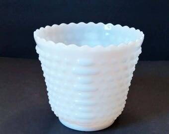 Anchor Hocking Hobnail Milk Glass Jardiniere/Planter
