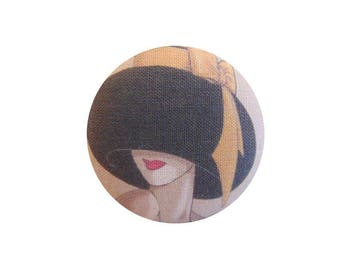 x 1 cabochon 28mm woman with yellow bow BOUT13 Hat fabric