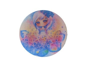 1 cabochon 28mm x BOUT11 flowers girl fabric