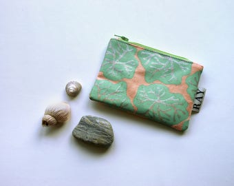 Pink coin purse with green and silver seaweed print