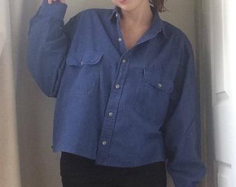 Vintage Cropped Woman's Royal Blue Shirt, UK 8, 10, 12, 14, 16