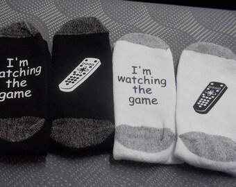 Custom made fun socks I'm watching the game dad socks husbands socks