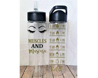 Muscles and Mascara, Muscles Water Bottle, Cute Water Tracker, Fitness Water Bottle, Gym Stocking Stuffer, Fitgirl, Glitter Water Bottles