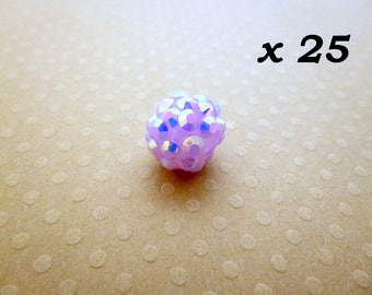 Glass 25 beads for Shamballa 12 mm purple - L25725