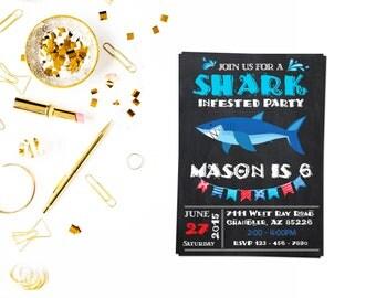 Shark Birthday Party Invitation_3,Shark Birthday Invite, Shark Party Invitations, Shark Birthday Invitations, Shark Birthday Party