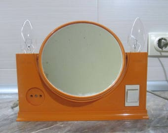 Mid Century Orange Cosmetic Mirror / Vintage Vanity Mirror / Double Sided Mirror Lamp