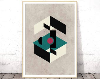 Large Geometric Poster, Mid Century Modern, Digital Print, Affiches Printables Apartment Decor, Instant Download Office Gift, Beige Wall Art