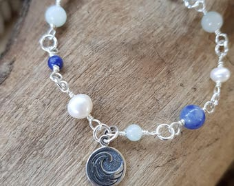 Water Element Double Sided Charm Bracelet Gemstone Bracelet Pearl Bracelet Pagan Water Element Cancer Scorpio Pisces
